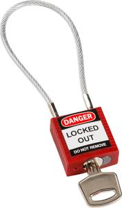 compact cable safety padlock red with key