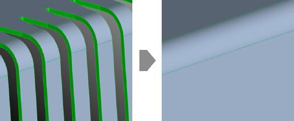 ASFALIS vereinfacht die Geometrie von CAD-Modellen: Unerwünschte Geometrie wird entfernt (vorher-nachher)