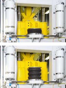 In use: Pneumatic air actuators from ContiTech as press cylinders, Photo: ContiTech