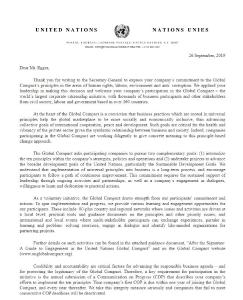 Schreiben der Vereinten Nationen (UN) an Robert Egger, Geschäftsführer, Egger PowAir Cleaning GmbH