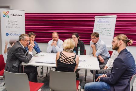 IIT 2018 München: Im Workshop konnten die Teilnehmer in kleinen Gruppen über ihre Stärken und Schwächen im Umgang mit InLoox diskutieren.