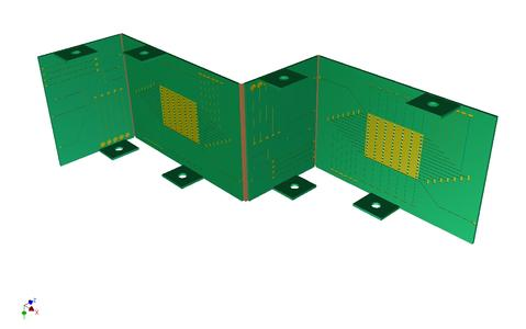 The 3d-bent PCB, with three kinks in this example, fits around obstacles when space is limited.