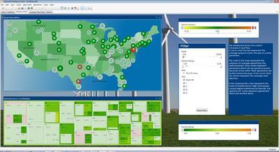 Beispiel Windkraft-Anlagen aus USA: Aus Wetter- und Gerätedaten entstehen Empfehlungen für eine vorzeitige Wartung. Datawatch Desktop hilft so, Ausfallrisiken zu minimieren