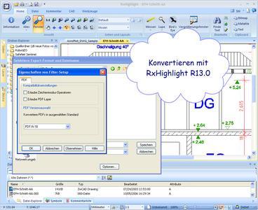 Konvertieren mit RxHighlight R13.0