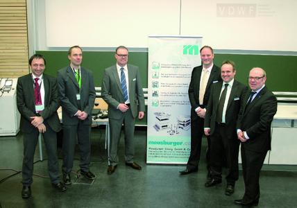 Lecturers at the Meusburger user meeting at Schmalkalden (Germany) - from left to right: Silvio Paesano (Ewikon), Marko Bahns (Mecadat), Andreas Sutter (Meusburger), Daniel Kessler (Meusburger), Lutz Schaller (Meusburger), Prof. Dr. Thomas Seul (FH Schmalkalden/VDWF)