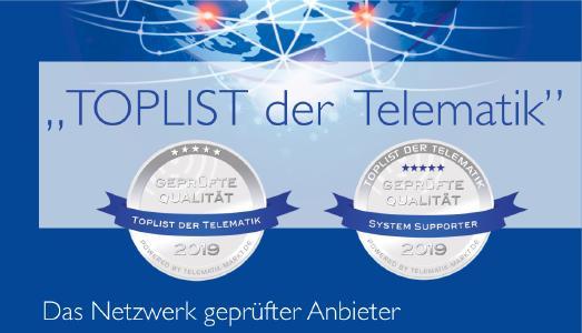 """Sämtliche Anbieter aus dem exklusiven Kreis der """"TOPLIST der Telematik"""" stellen sich in jedem Jahr neu einer jährlichen Prüfung in den Punkten Service, Support, Technologie und Datensicherheit durch eine unabhängige Fachjury / Grafik: Telematik-Markt.de"""