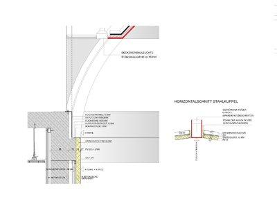 Detailzeichnung der Wandverkleidung und des Anschlusses Putz/ Kuppel