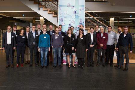 Partners in the FlowCamp network at the project kick-off meeting in September 2017: Fraunhofer ICT (DE), Elestor BV (NL), Bar Ilan University (IL), Hungarian Academy of Science (HU), CNRS (FR), JenaBatteries GmbH (DE), Amer-Sil S.A. (LU), Zürcher Hochschule für Angewandte Wissenschaft (CH), University of Chemistry and Technology, Prague (CZ), University of Stuttgart (DE)