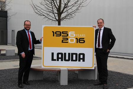 LAUDA celebrates its 60 year company anniversary. President and CEO Dr. Gunther Wobser (left) and COO Dr. Marc Stricker