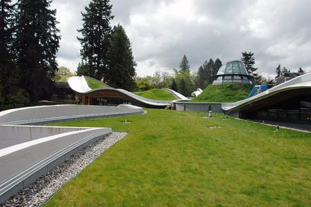 VanDusen Botanical Garden in Vancouver, Canada - ZinCo system build-up 'Sloped Sedum - The vistor center has been awarded the highest certification level for sustainable constructions: LEED Platinum