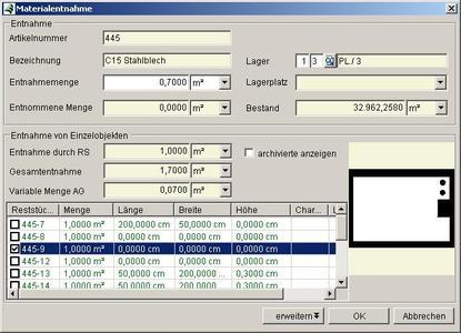 Reststückverwaltung im ERP-System