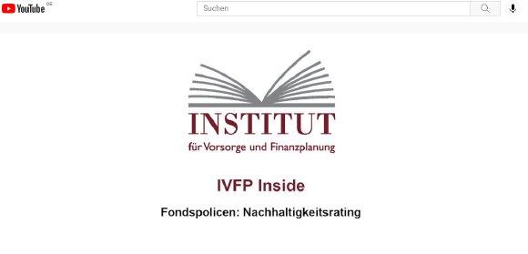 Veröffentlichung IVFP Fondspolicen-Nachhaltigkeits-Rating 2021