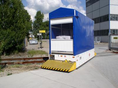 Der Fahrkurs des Outdoor-FTFs mit Rollenbahnen, stirnseitiger Lastenübergabe und einer Kapazität von über 3 t führt auch problemlos über Bahngleise