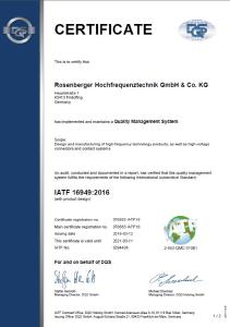Rosenberger Certified by New Standard IATF 16949:2016