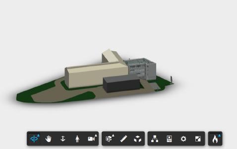 Visualisierung eines Gebäudeabschnitts der N+P-Geschäftsstelle in Meerane als digitaler Zwilling auf Basis der Plattform Autodesk® Forge