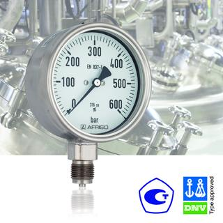DNV- and GOSSTANDART-certified pressure gauge