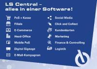 Infografik: Die Retail-Komplettsoftware LS Central bietet alle Funktionen für PoS, Kasse, Filialverwaltung, Head Office, Logistik und Warenwirtschaft in einer Lösung.