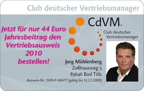 der vertriebsausweis fr das jahr 2010 kann beim cdvm ab sofort bestellt werden - Verkaufsgesprach Beispiel