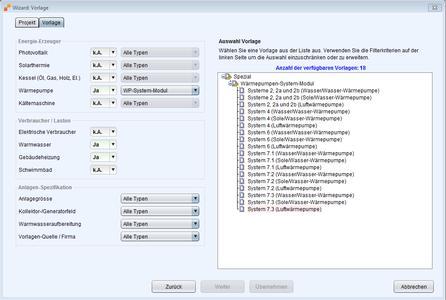 Abbildung 1: WP-System-Modul Vorlagen in Polysun