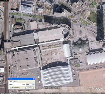 Die Messe in Frankfurt aus Sicht von Google Earth-die Basis der Mengenermittlung