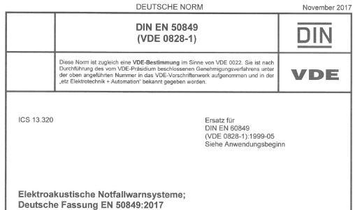 DIN EN 50849 VDE 0828 1