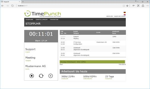 Screenshot TimePunch Online