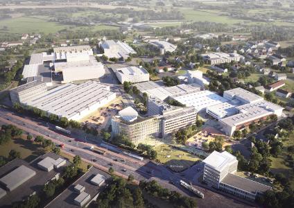 Bielefelder Standortausbau: Mit 95 Millionen Investitionssumme ist der Bielefelder Standortausbau das größte eigene Schüco Bauprojekt in der Unternehmensgeschichte / Bildnachweis: 3XN Architects