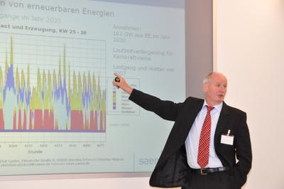 Christian Micksch (Sächsische Energieagentur GmbH) sprach beim Forum ElektroMobilität e.V. über die Modellregion Sachsen und die Integration erneuerbarer Energien