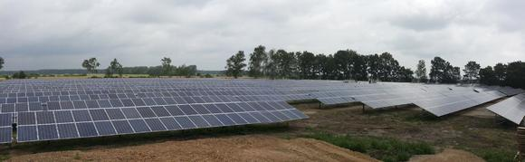 Lynow solar park array panoramic view