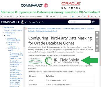 Commvault Datenmaskierung für Oracle Datenbankklone