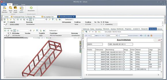 PRO.FILE-Integration mit SolidWorks und Zuschnitt-Liste
