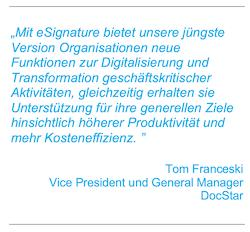 Neue Version der DocStar Enterprise Content Management Plattform integriert DocuSign Signature