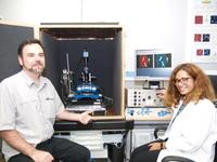 Dr Christophe Demaille and PhD student, Cécilia Taofifenua, in front of the JPK NanoWizard®-based AFM-SECM set up developed at the Université Paris Diderot