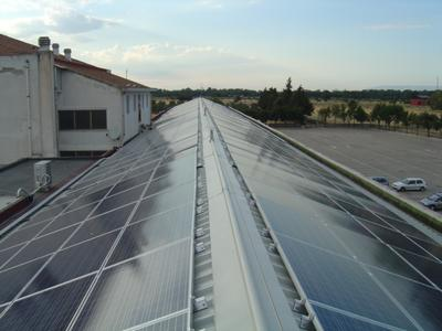 Close view of the solar modules on the Abbey of Santa Maria Incoronata