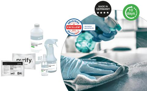Step two of the purify hygiene concept for aviation: surface disinfectant & cleaning
