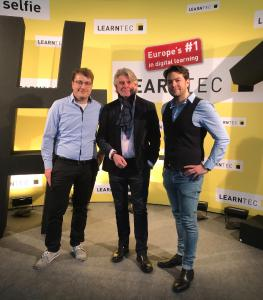 Florian Sturm, Prof. Dr. Peter Niermann und Fabrizio Palmas auf der Learntec 2019