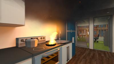 """ALARM: Brennendes Fett in der Pfanne! Wie jetzt richtig löschen (und wie auf keinen Fall!) - das lässt sich """"virtuell"""" erlernen und erleben mit den sam®-VR Brandschutz-Schulungen von secova"""