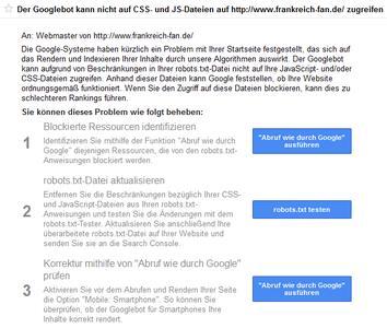 Screenshot CSS JavaScript: Google warnt Website-Betreiber via Webmaster Tools vor den Risiken gesperrter CSS- und JS-Dateien auf die eigenen Rankings.