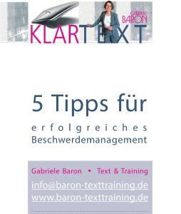 5 Tipps zum erfolgreichen Beschwerdemanagement, Gabriele Baron
