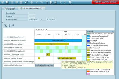Transparenter Service: oxaion zeigt jederzeit, welche Techniker gerade für welche Serviceaufträge unterwegs sind. Auftragsarten können übersichtlich mit unterschiedlichen Farben frei gekennzeichnet werden.