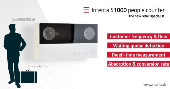 The features of the new Intenta S1000 people counter are optimized for retail applications like customer tracking, dwell-time analysis and waiting queue detection, Photo Credit: Intenta GmbH