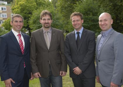 Auf dem Gruppenbild der neue WJS-Vorstand (ab 2013) von links:  Dr. Jörg Rupp, Marcel Keidel, Dr. Mathias Hafner, Stefan Seel (nicht auf dem Bild: Florian Karcher). Foto:  Becker & Bredel