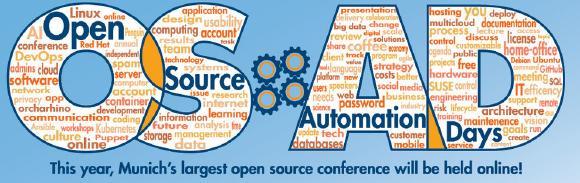 Die Open Source Automation Days finden vom 19.10. bis 21.10.2020 erstmals virtuell statt.