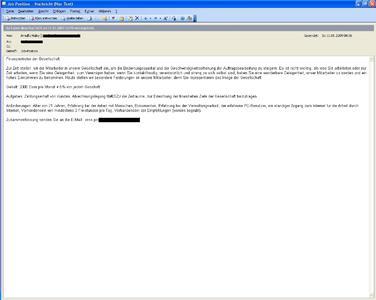 Screenshot einer Recruiting-Spam