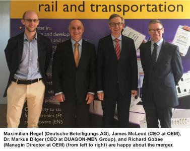 Maximilian Hegel (Deutsche Beteiligungs AG), James McLeod (CEO at OEM), Dr. Markus Dilger (CEO at DUAGON-MEN Group), and Richard Gobee (Managin Director at OEM) (from left to right) are happy about the merger