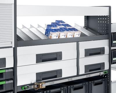 Neue Kleinteileablage von bott für C-Teilemanagement im Montagefahrzeug