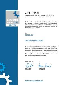 GEZE Zertifikat Industriepreis 2017 / Bild: GEZE