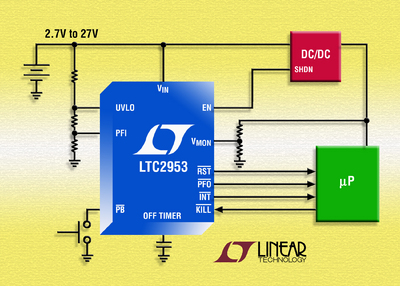 Push-Button Controller Monitors DC/DC Switching Regulator's Input & Output Voltages