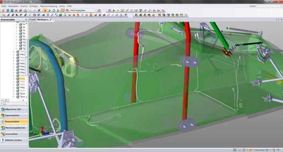 In Eplan Harness proD werden die dreidimensionalen Verhältnisse im Fahrzeug berücksichtigt und die Kabel entsprechend verlegt (Quelle: WHZ Racing Team Zwickau)