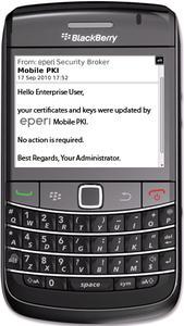 BlackBerry Handheld mit installierter eperi Mobile PKI Lösung – hier eine Hinweisnachricht über das im Hintergrund erfolgte Zertifikatsupdate
